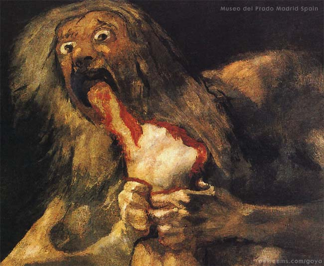 Detail image of the painting SATURN by the Spanish artist GOYA.