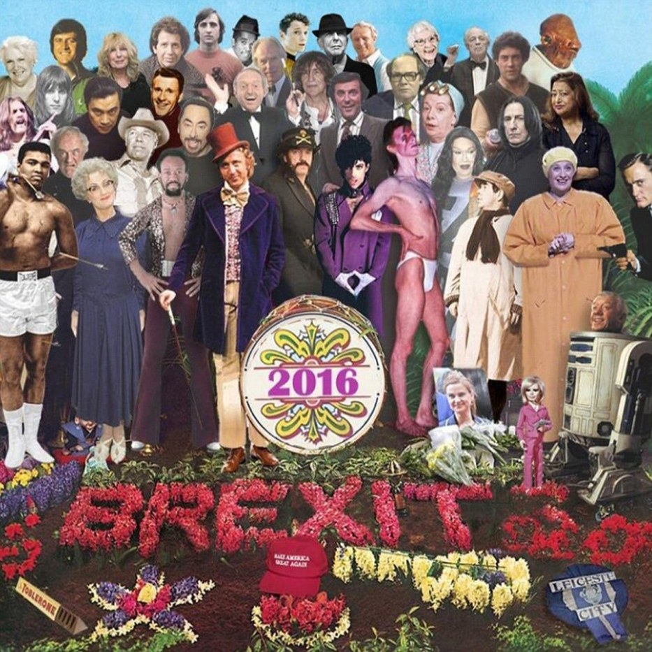 Cover of The Beatles album Sgt Pepper with celebrities that died in 2016 ***TWITTER PICTURE***